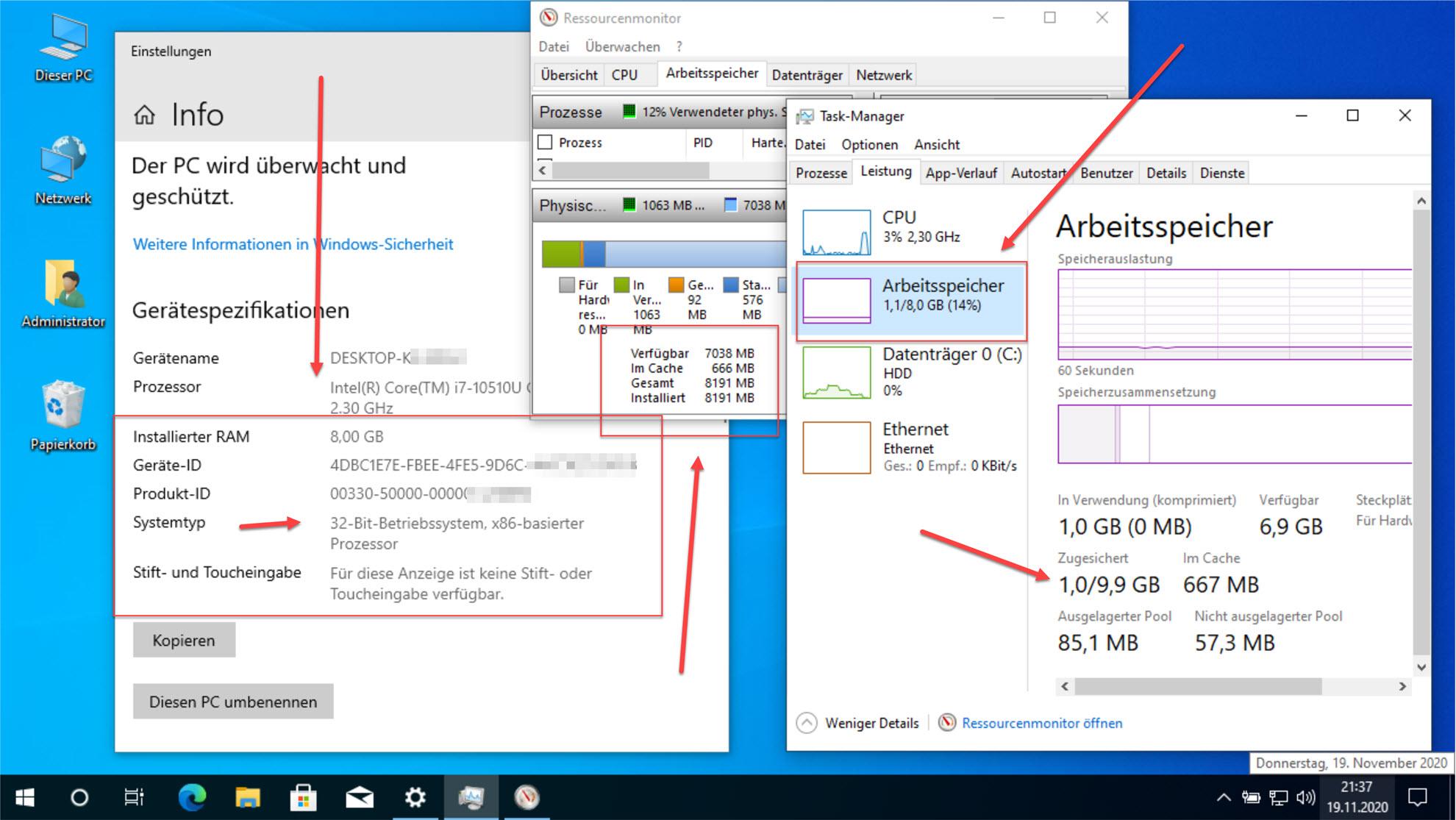 Windows 10 32 Bit RAM Sperre entfernen